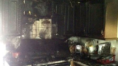 The damage to the kitchen of the home. Picture: CAMBS FIRE AND RESCUE SERVICE