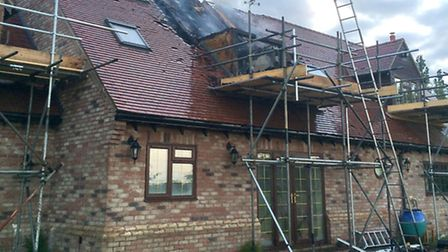 The damage to the roof. Picture: CAMBS FIRE AND RESCUE SERVICE.