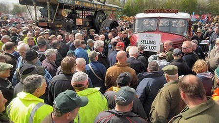 Crowds gathered around the 1907 Foden steam locomotive for the auction.