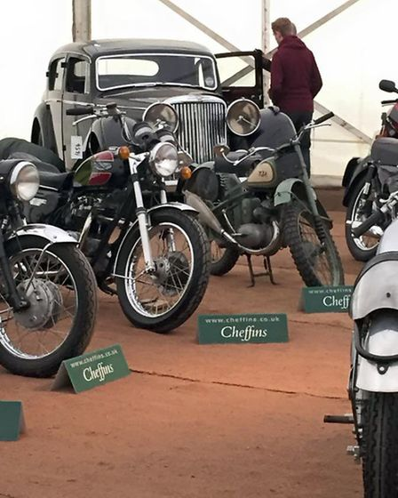 Some of the classic motorcycles and cars that were sold.