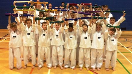 Pupils of the Mark Farnham School of Tae Kwon-Do, in Ely.
