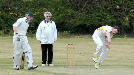 Chatteris cricket team first game of season. Anthony Palmer Bowling. Picture: Steve Williams.