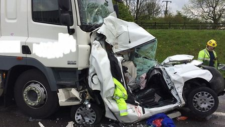 Four vehicles collided on the A1 at Sawtry. Picture: Cambs Fire Facebook.