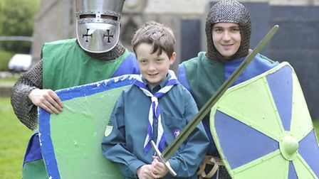 Ely Eel Day, (l-r) Joshua Noble, and Steve Bambord, from the Crusade Society, with 3rd Ely Scout mem