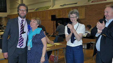 East Cambs election count.James Palmer (Con) Soham Nth. and Carol Sennitt (Con) Soham Nth Picture: S