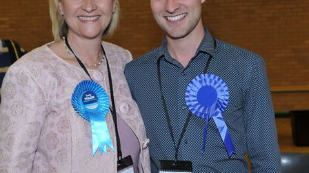 East Cambs election count. Julia Denise Huffer (Con) and Josh Schumann (Con) Fordham Villages. Pictu