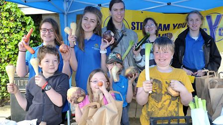 Stretham Feast weekened celebrations. Stretham youth clubs veg stall.Picture: Steve Williams.