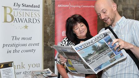 Ely Cathedral Business Exhibition. Archant and Ely Standard, Left: Ashlie Jackson and Jon Torrens.Pi