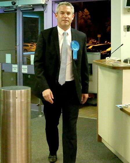 Steve Barclay entering the Hudson leisure centre, Wisbech for the election count.