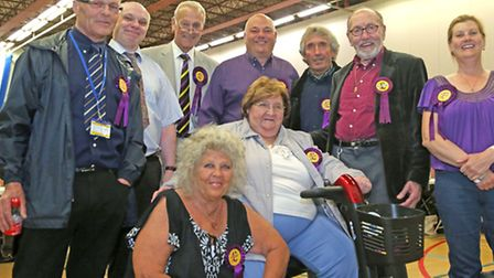 Ukip candidates at the Hudson leisure,Wisbech for the election count.