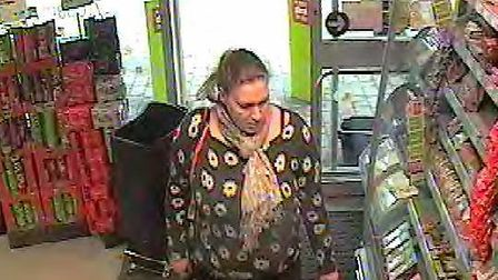 Police would like to speak to this woman in connection with a theft in Burwell.