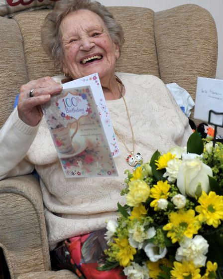 Hilda Boyce from March turns 100 with a surprise visit from Johnny Dee. Picture: Steve Williams.