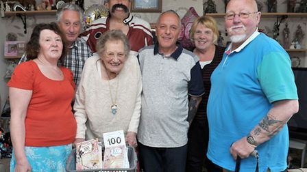 Hilda Boyce from March turns 100 with a surprise visit from Johnny Dee.Left: Daughter in law Carol B