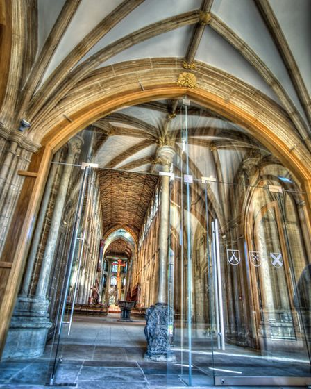 The view into the cathedral through the new glazed doors. Picture: Matthew Roberts.