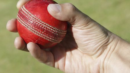 Cricket bowler with ball in hand
