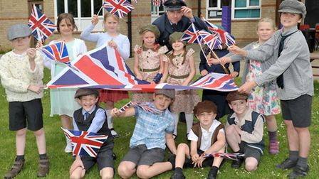 VE day celebrations, Pupils from Little Thetford primary school.
