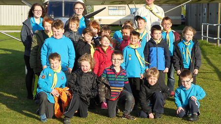 March Beaver Scouts learn about the inside of an aircraft at Chatteris airfield.