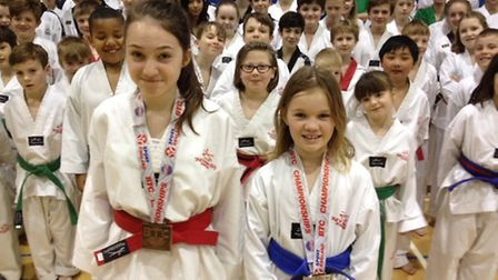 Medal winners Cerys Easey and Hanna Sikora.
