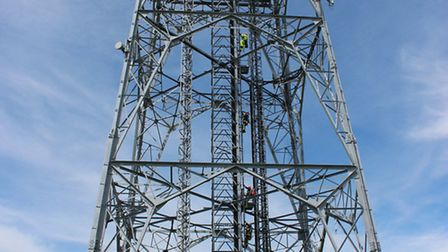 Crews rescued casualties from a 100m telephone mast.