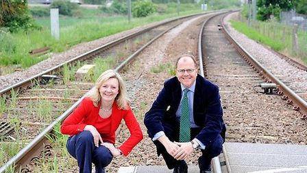 Elizabeth Truss MP and George Freeman MP at the Queen Adelaide level crossing close to the Ely North