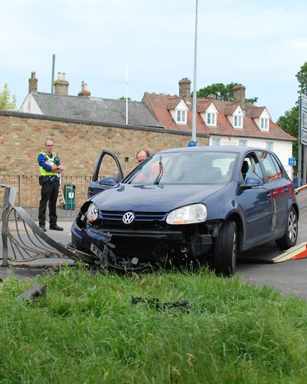 The scene of the collision, in Ely.Pictures: Clinton Edwards.