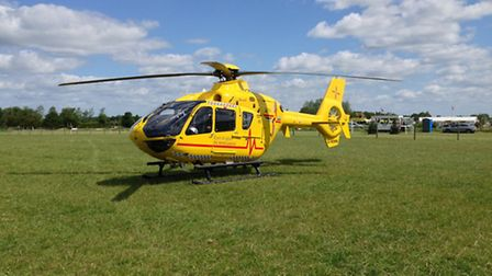 The East Anglian Air Ambulance at the Ely Eventing Centre.
