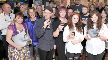 Dan Donovan photographic book launch. Angles theatre Wisbech.Dan Donovan with family and friends. Pi