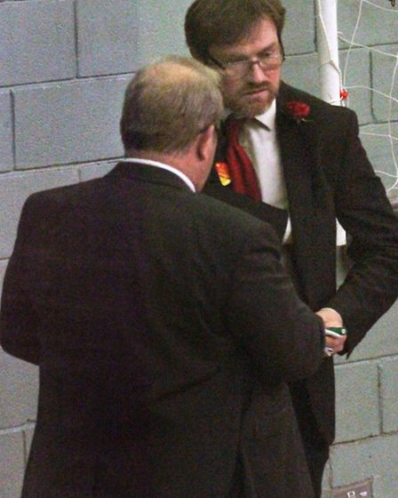 Labour's Martin Field at the recent count with Ken Rustidge, the Parliamentary candidate