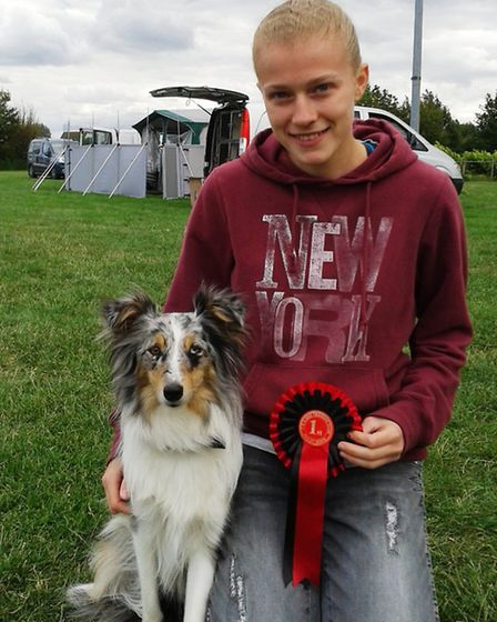 Natasha Chambers, 18, from Little Downham with her two-year-old Indie, a Shetland sheepdog cross col