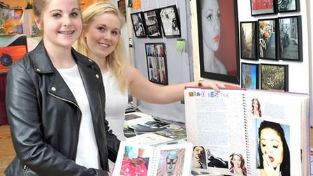 Annual GCSE and A-level art and photography exhibition , Cromwell college Chatteris. Sisters Molly a