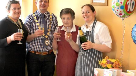 Old Bakery Tea-Room & Restaurant in Chatteris celebrated ten years of trading. Left: Mayoress Amy Ca
