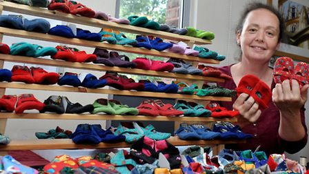 Summer craft fair at the Ely Cathedral Centre. Childrens shoes by Sara Rains, , Picture: Steve Willi