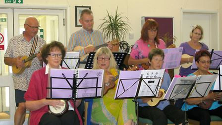 The Rocking Ukeleles of Ely perform at the meeting.