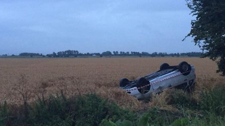 One of the cars that went off the A1101