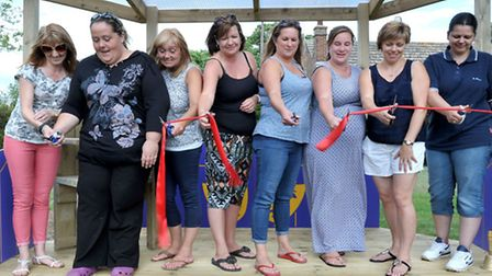 Downham Feoffees Primary School, Little Downham, Friends of the school cutting the ribbon to the out