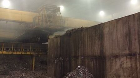 The scene inside the AmeyCespa recycling plant where crews spent most of the day tackling a fire. Pi