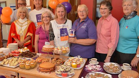 Tea, coffee and cakes event for EACH, at the Cathedral Centre, Ely, with Mayor Lis Every,