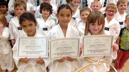 Amy Borden, Katie Borden and Gabrielle Soars are three students who achieved their yellow stripe gra