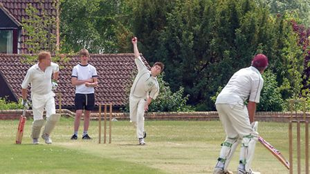 Jordan Emms bowling for Sutton. Picture: BARRY GIDDINGS