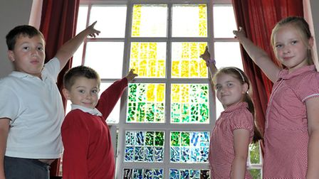 little thetford primary school ELY. New stained glass window. Picture: Steve Williams.