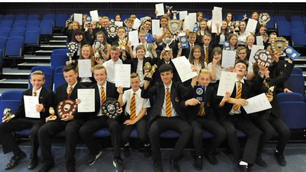 Neale-Wade Academy students with their trophies after the sports presentation evening. Picture: ROB