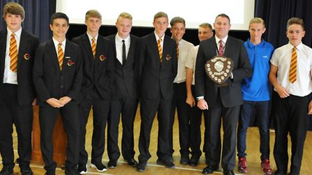 Principal Jason Wing with Neale-Wade Academy students at the sports presentation evening. Picture: R