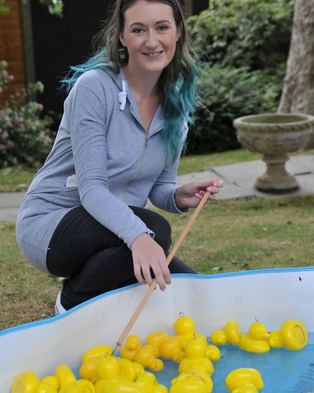 Dove court summer fete, Wisbech. Leah Towler on hook a duck,Picture: Steve Williams.
