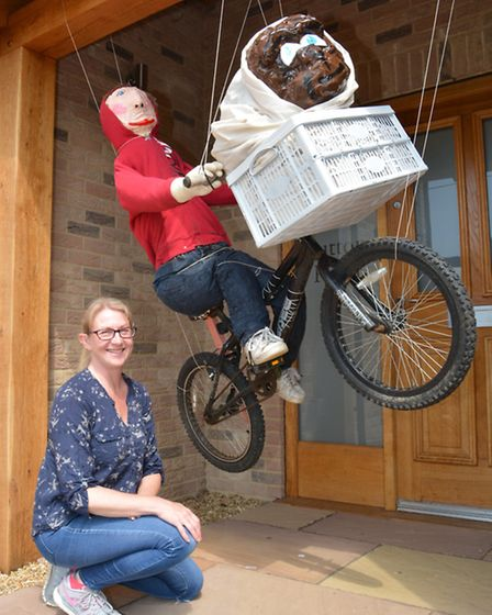 Witchford Scarecrow Competition, Becca Green, with ET, at her home on Sutton Road,