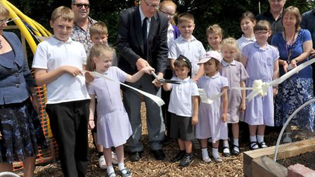 Allotment opening.Weatheralls School, Soham. Ribbon cutting by John Powley chairman of the governor