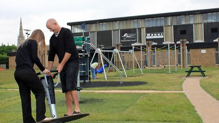 Jess Lockhart and Gary Swan try out some of the new equipment.