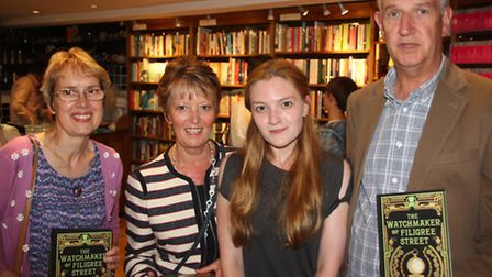Author Natasha Pulley with three of her former teachers