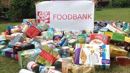 Collection for Ely Food Bank on Waterbeach village green.