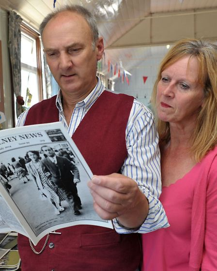 Water Gala with Raft Races at Welney. Clive and Sally Haycock reading the Welney news,Picture: Steve