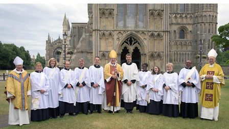 From left: the Bishop of Huntingdon, the Rt Rev Dr David Thomson; the Rev Julia Chamberlin; the Rev
